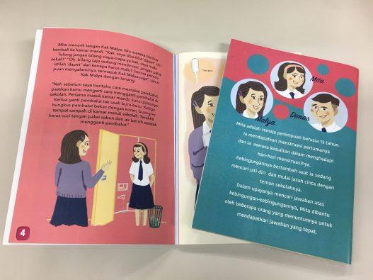 教材では、13歳の女の子Mitaが初潮を迎え、心や身体の変化に戸惑うなか、先生や母親といった信頼する人々から正しい知識を得ていくストーリーが描かれている