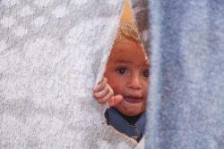 トルコとの国境に近いキリの非公式居住区で、仮設テントから外を覗く男の子。(2019年11月撮影)