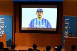 2018年11月、筒香選手は、ユニセフハウスで開催された「ユニセフ『子どもの権利とスポーツの原則』発表会にビデオメッセージ寄せてくださった。