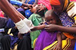 ソマリアで行われた予防接種キャンペーンで、はしかとポリオの予防接種を受ける子どもたち。(2019年11月撮影)