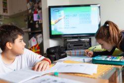 全国放送のテレビ教室プログラムを通して、自宅で勉強する北マケドニアの子どもたち。(2020年3月25日撮影)