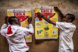 北キブ州・ブテンボの学校の壁に、エボラ出血熱感染予防のポスターを貼る生徒たち。(2019年3月撮影)