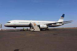 ユニセフの医療物資を載せてバマコに到着した航空機。(マリ、2020年4月4日撮影)