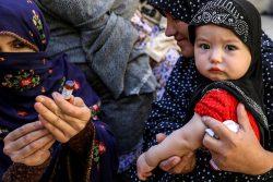 予防接種を受ける赤ちゃん。(パキスタン)