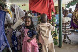 北東部ヨラの保健クリニックで予防接種を待つ子どもたち。(ナイジェリア、2020年1月15日撮影)