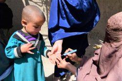 南部のカンダハールでポリオの予防接種を受け、小指に印をつけてもらう子ども。(アフガニスタン、2020年3月8日撮影)