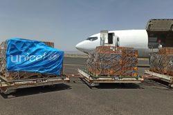 サヌア空港に到着したユニセフのチャーター機と支援物資。 (2020年5月30日撮影)