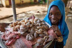 カードゥクリーの町でお菓子を売る女の子。(スーダン、2018年3月撮影)