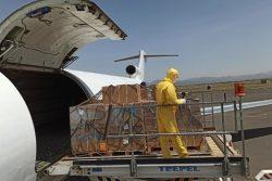 COVID-19に対応するための支援物資のユニセフのチャーター機がサヌア空港に到着した様子。(イエメン、2020年5月30日撮影)