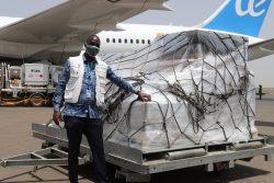 EUの人道的航空輸送体制を通してワガドゥグに到着した緊急の保健物資。(ブルキナファソ)