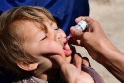 南部のカンダハールでポリオの予防接種を受ける子ども。(アフガニスタン、2020年3月撮影)