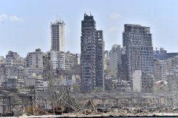 8月4日に大規模爆発があったレバノンの首都ベイルートの様子。