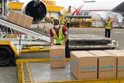 ラテンアメリカ・カリブ海諸国のCOVID-19の状況に対応するため、トクメン国際空港に到着したユニセフの医療物資。(パナマ、2020年7月撮影)
