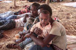 ティグライ州での紛争から逃れ、スーダン東部・ゲダレフ州の難民キャンプに避難してきたエチオピア難民の子どもたち。(2020年11月16日撮影)