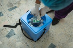 中央部のラリトプールにある保健所のワクチン保管庫で、運搬用の保冷箱にCOVID-19ワクチンを格納する医療従事者。(ネパール、2021年4月21日撮影)