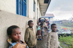 北キブ州の学校に避難した子どもたち。(2021年5月24日撮影)