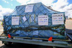 COVAXを通じてアンタナナリボ空港に届いたCOVID-19ワクチン。(マダガスカル、2021年5月8日撮影)