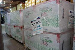 米国政府からCOVAXを通じて届いたCOVID-19ワクチン。(2021年7月14日撮影)