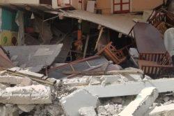 レカイで甚大な被害を受けた建物。(2021年8月14日撮影)