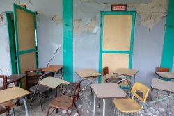 レカイで甚大な被害を受けた教室。(2021年8月17日撮影)