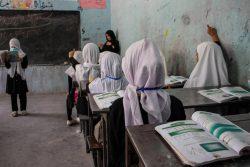 ヘラートにある女子校では、1年生から6年生までの授業が再開した。(2021年9月5日)