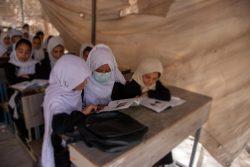 小学1年生から高校3年生までの女子生徒が通うMawlana Hatefi女子学校。多くの女子生徒が通う一方で、資金不足により教室の数が足りず、一部の授業はテントで行われている。(2021年9月5日)