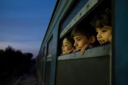 電車の窓から外を眺める、ヨーロッパに向かう難民の子どもたち。