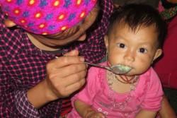 栄養が豊富なおかゆを食べるモン族の赤ちゃん。(ベトナム・ラオカイ省)