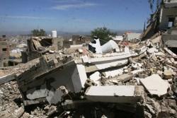 武装グループに使用されていた学校。爆撃され、現在は校舎や校庭が瓦礫と化している。(タイズ)