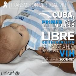 世界で初めてHIVと梅毒の母子感染の撲滅に成功したことを告知するポスター。