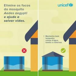 『貯水タンク・バケツにきちんと蓋をしましょう』と書かれた、ユニセフ・ブラジル事務所発の啓発ツール。