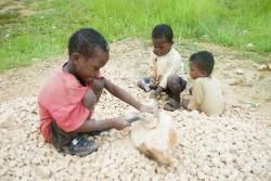 ベロバカの砕石場で働いていた幼い子どもたち。