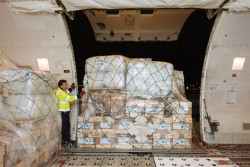 ユニセフの支援物資86トンがキトに届けられた。