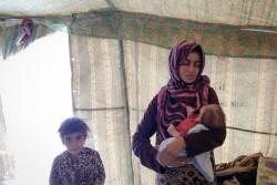 ファルージャの暴力から逃れてきた女性。生後17日の赤ちゃんを抱き、写真が撮影される7日前にアンバール県の避難民キャンプに辿り着いた。