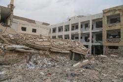 2016年5月に紛争被害を受けたイエメン・タイズ市の学校。(2016年5月撮影)※本文との直接の関係はありません。