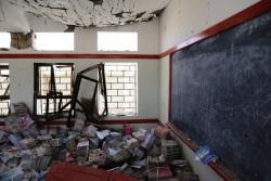 紛争の影響で被害を受けた学校。(イエメン・サアダ州 2016年4 月撮影)