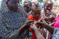 ボルノ州の避難民キャンプでポリオの予防接種を受け、ユニセフの保健員にマーカーで印をつけてもらうアジェダちゃん(6カ月)。(ナイジェリア・ボルノ州 2016年8月15日撮影)