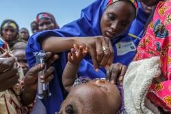 ナイジェリアの国内避難民キャンプにてユニセフ職員からポリオの予防接種を受ける子ども(2016年8月撮影)