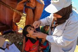 バグダッドの避難民キャンプにてポリオワクチンを受ける子ども(2016年3月撮影)。