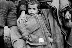 ギリシャ・カストリアにて、ユニセフより支給された毛布を抱える男の子。(1950年6月15日撮影)