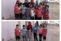 レバノンで暮らす17人のシリア難民の子どもたち(写真上)のうち、7人しか学校に通えていない(写真下)