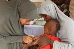 ナイジェリアのマイドゥグリではしかの予防接種を受ける子ども。(2016年撮影)