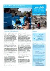東日本大震災緊急復興支援活動の中で、特に乳幼児期や学齢前の年齢の子どもたちに焦点を当てて行った様々な活動の概要を紹介した英文の簡易レポート。世界各国からニューヨーク本部に集まったユニセフの緊急支援専門家らに、ワークショップの基本資料として配布された。