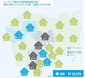 マッピング調査により明らかになった、カンボジア国内の児童養護施設、及び、施設で暮らす子どもたちの数を記した地図。