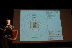 本田氏によるトークショー。「災害時には子どもが周りの人々とつながり、安心して日常生活を繰り返せることが大切」という。