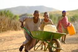 汲んできた水を運ぶ子どもたち (スーダン・北ダルフール) 2017年1月撮影