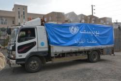 ユニセフの人道支援物資を載せたトラック (イエメン・サヌア)2017年6月22日撮影