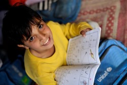 Noor Mut, 6 years old attends his class in UNICEF supported school in Jalozai camp, Khyber-Pakhtunkhwa province in Pakistan.