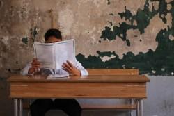 ユニセフの支援する教育センターで、試験を受ける子ども。(シリア・アレッポ)2017年5月12日撮影