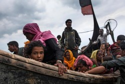 On 7 September 2017, newly arrived Rohingya refugees travel by boat from Myanmar on the Bay of Bengal to Teknaf in Cox's Bazar district, Chittagong Division in Bangladesh. By 5 September 2017, more than 146,000 Rohingya refugees fled across the border from Rakhine State, Myanmar, into Cox's Bazar district, Chittagong Division in Bangladesh since 25 August. As many as 80 per cent of the new arrivals are women and children. More than 70 000 children need urgent humanitarian assistance. More than 100,000 of the newly arrived refugees are currently residing in makeshift settlements and official refugee camps that are extremely overcrowded while 10,000 newly arrived refugees are in host communities. In addition, 33,000 arrivals are in new spontaneous sites, which are quickly expanding.  While some refugees are making their own shelters, the majority of people are staying in the open, suffering from exhaustion, sickness and hunger. Cox's Bazar district of Bangladesh is one of the most vulnerable districts, not only for its poor performance in child related indicators but also for its vulnerability to natural hazards.  Most people walked 50 or 60 kilometers for up to six days and are in dire need of food, water and protection. Many children are suffering from cold fever as they are drenched in rain and lack additional clothes. Children and adolescents, especially girls, are vulnerable to trafficking as different child trafficking groups are active in the region. Many more children in need of support and protection remain in the areas of northern Rakhine State that have been wracked by violence. In Bangladesh, UNICEF is scaling up its response to provide refugee children with protection, nutrition, health, water and sanitation support. With the recent influx of refugees, demand has increased and UNICEF is working to mobilize more support and strengthen its existing activities. For recreational and psychosocial support to the newly arrived Rohingya children, 33 mobile